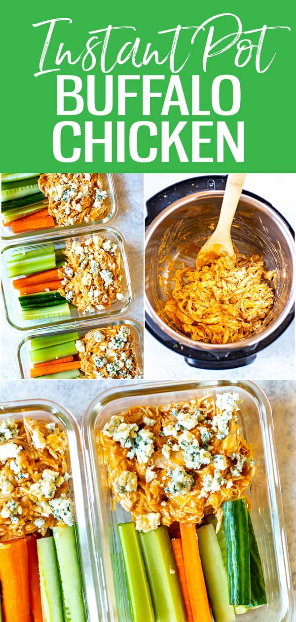 This Instant Pot Buffalo Chicken is super easy to make and comes together with buffalo wing sauce and blue cheese - serve with carrot sticks and celery for a full meal! #buffalochicken #instantpot