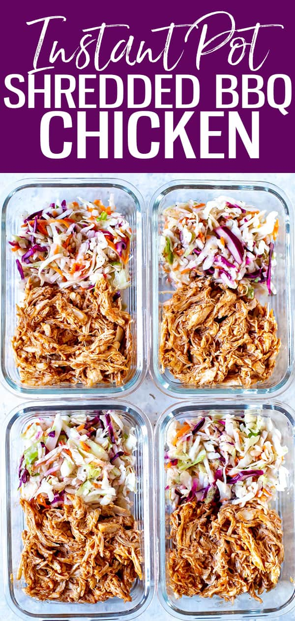 This Instant Pot BBQ Chicken is so easy to make, and pressure cooks in 10 minutes - shred and toss with BBQ sauce, then serve with coleslaw and burger buns for a full meal! #instantpot #bbqchicken