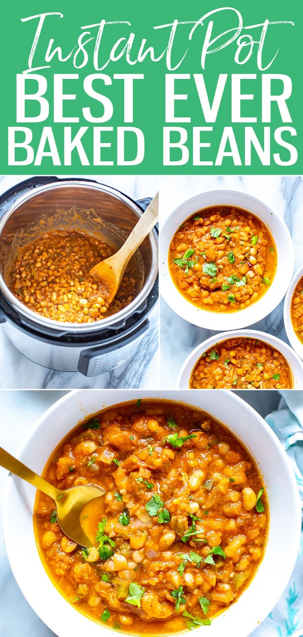These are the BEST EVER Instant Pot Baked Beans, and they come together with simple sauce ingredients from your fridge and pantry - you'll love these smoky baked beans! #instantpot #bakedbeans