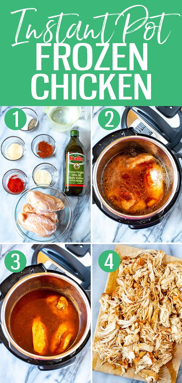 This is the easiest ever Frozen Chicken in the Instant Pot - just add your frozen chicken breasts and cook for 20 minutes on high pressure! #instantpot #frozenchicken