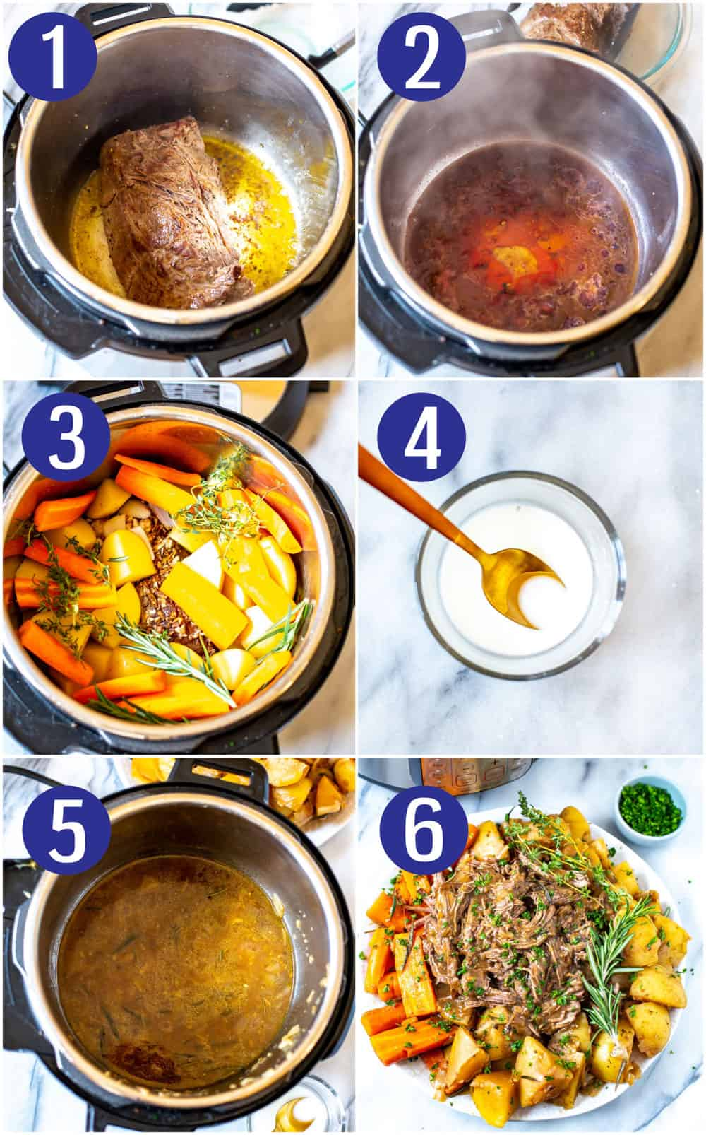 photo collage show steps to make a beef chuck dinner in a pressure cooker