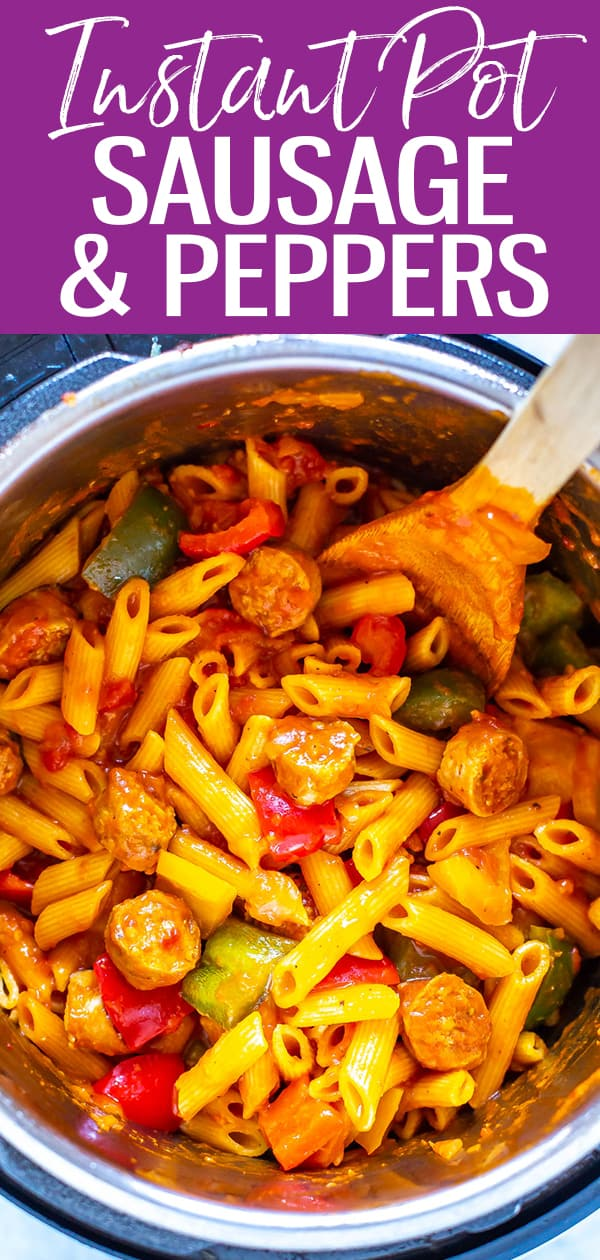 This Instant Pot Sausage and Peppers with penne is a delicious one pot meal that comes together in about half an hour! Just saute the sausage and pressure cook the rest! #sausageandpeppers #instantpot