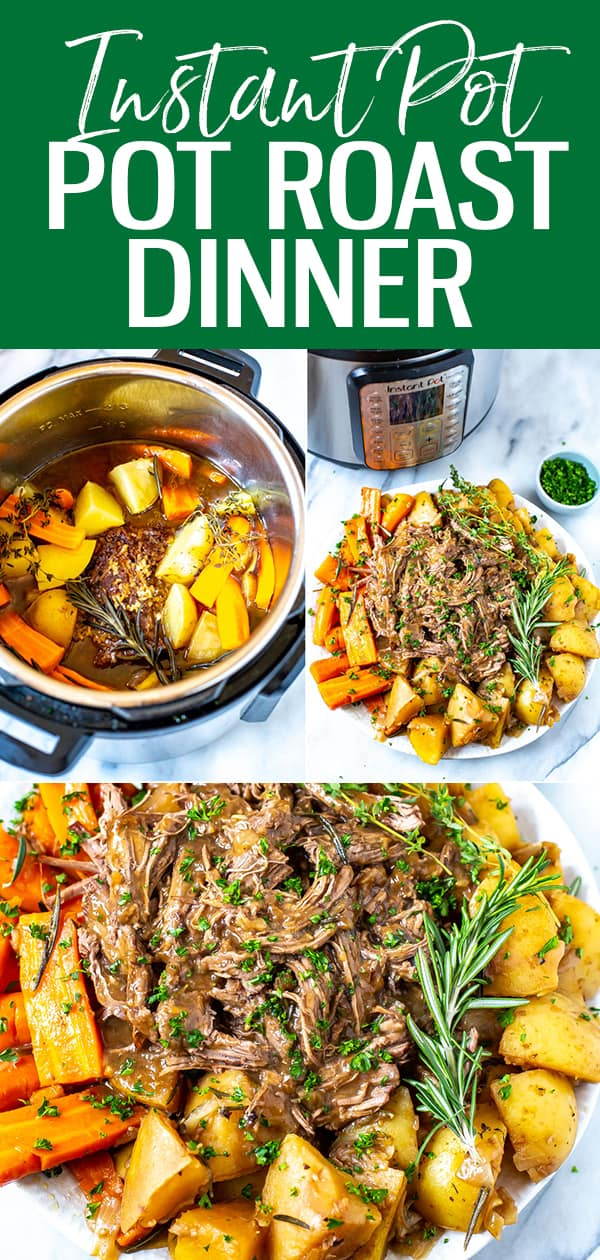 This Instant Pot Pot Roast is the BEST EVER: tender, juicy beef that melts in your mouth accompanied by potatoes & carrots - it's comfort food at its best! #InstantPot #PotRoast