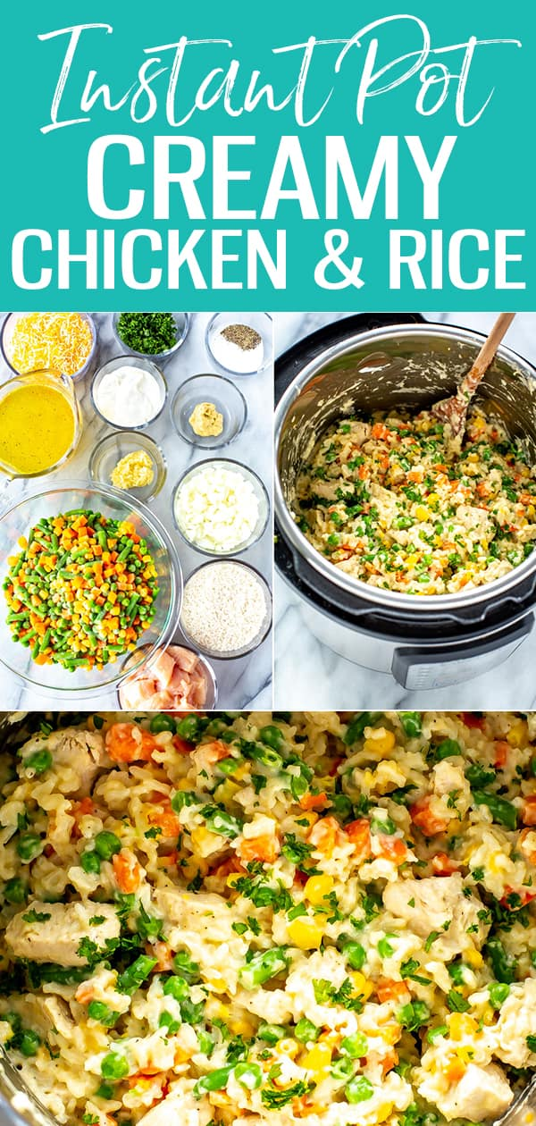 This Instant Pot Chicken and Rice is super creamy and delicious - no soup can required! Just add frozen veggies, sour cream and cheese. #instantpot #chickenandrice