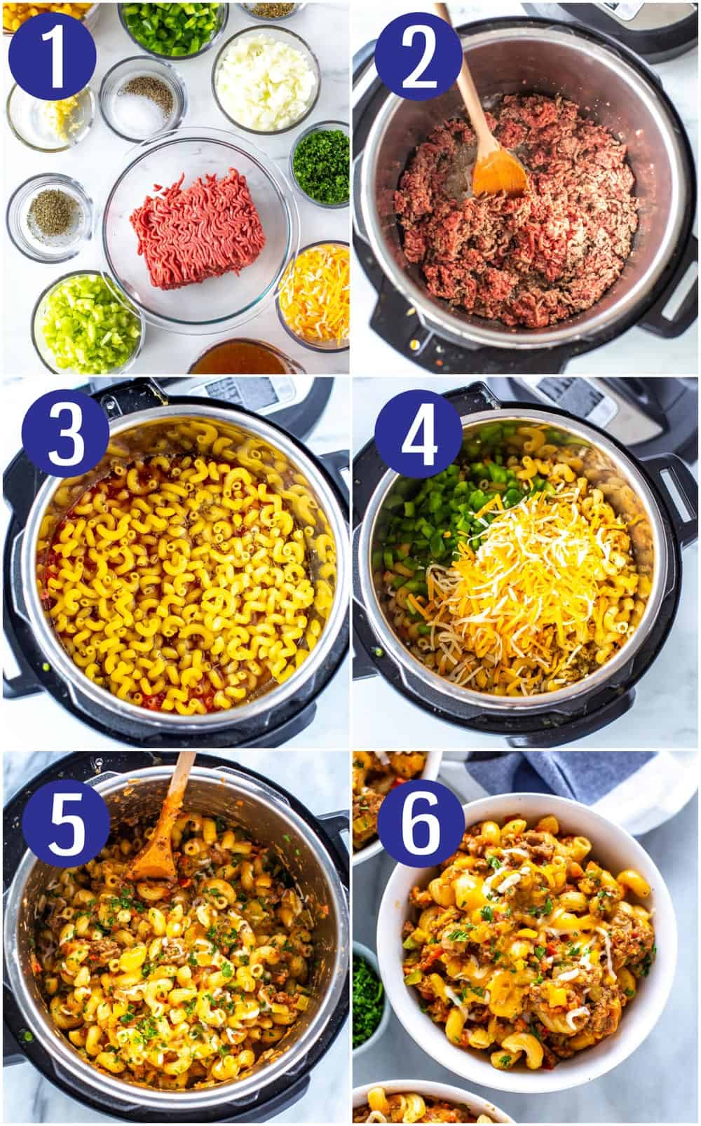 photo collage shows 6 steps to making homemade hamburger helper recipe in an Instant Pot