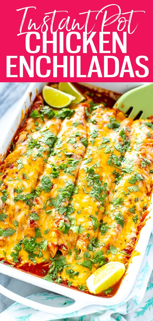 These Instant Pot Chicken Enchiladas are filled with tender pulled chicken, bell peppers and corn then topped with an easy enchilada sauce and cheese for a full meal! #instantpot #enchiladas