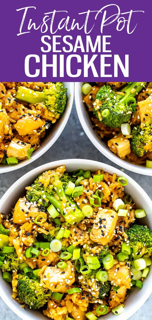 This Instant Pot Sesame Chicken is a one pot dump dinner that comes together in 30 minutes - just add chicken, rice, broccoli and an easy sauce! #instantpot #sesamechicken