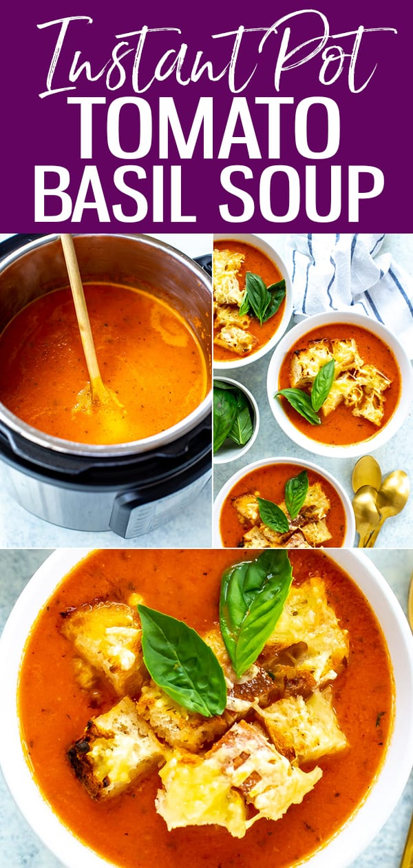 This Instant Pot Tomato Soup is super creamy and delicious and requires only pantry staples, though can you add fresh basil for extra flavor! #instantpot #tomatosoup