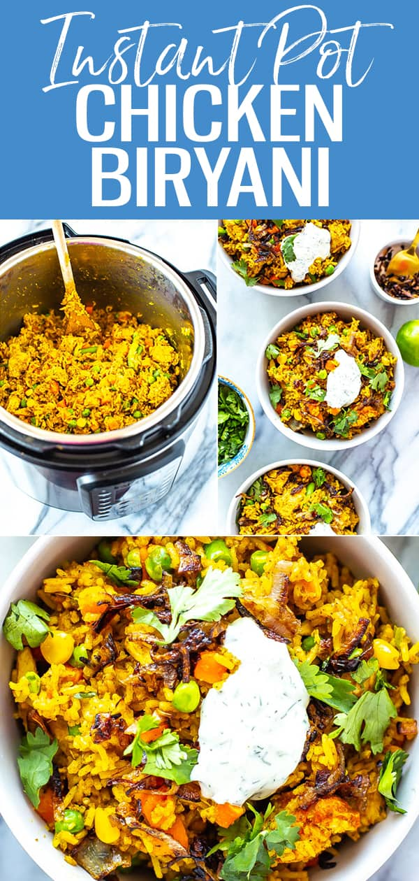 This Instant Pot Chicken Biryani is a delicious Indian-inspired rice dish filled with spices, basmati rice and frozen veggies then topped with yogurt #instantpot #biryani