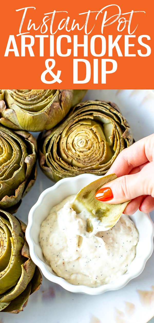 Learn how to cook artichokes and eat them with this simple video tutorial and recipe for Instant Pot artichokes - you'll love the creamy garlic dipping sauce! #instantpot #artichokes