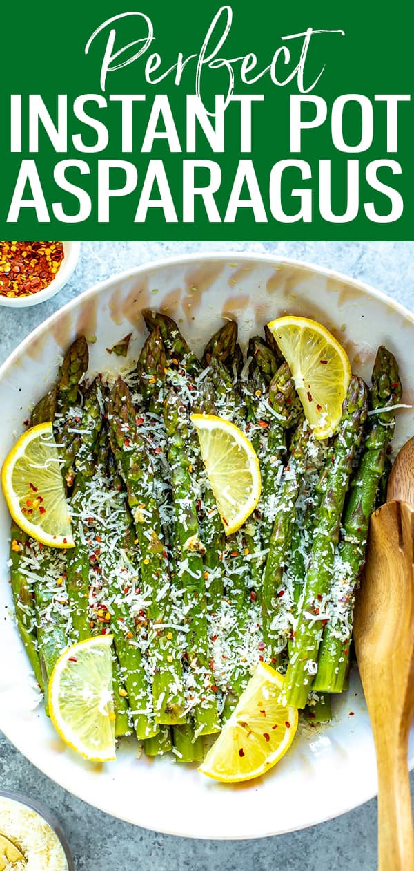 This Perfect Instant Pot Asparagus is much easier to make than you think, and comes together with a delicious lemon, garlic & parmesan seasoning. #instantpot #asparagus