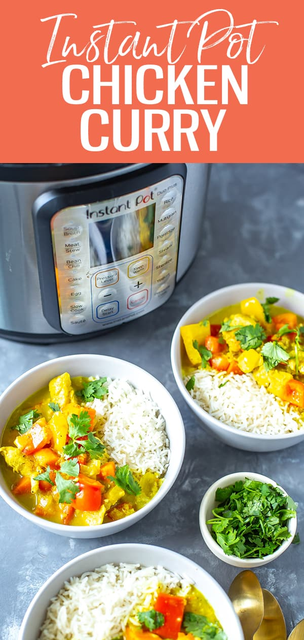 This Instant Pot Chicken Curry is filled with a creamy coconut sauce, loaded with veggies and served with basmati rice - it's a delicious 30-minute dinner! #instantpot #chickencurry