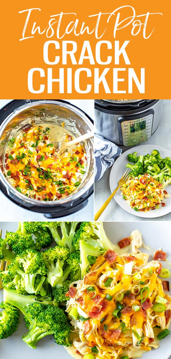 This Instant Pot Crack Chicken is a delicious weeknight chicken dinner made with cream cheese, ranch seasoning, cheddar, bacon and scallions! #instantpot #crackchicken