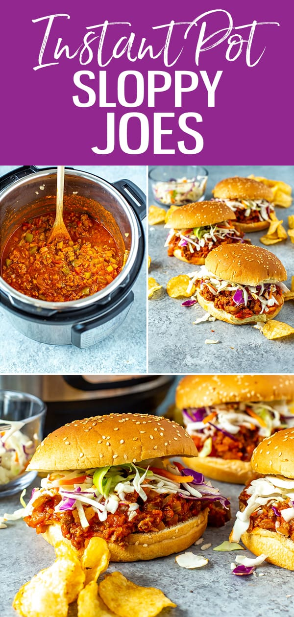 These are the easiest Instant Pot Sloppy Joes, served in a delicious tangy tomato sauce on hamburger buns. It's the perfect make ahead meal! #instantpot #sloppyjoes