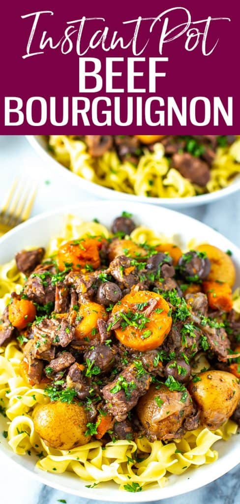 This Instant Pot Beef Bourguignon is a hearty, comforting dish with a rich gravy and tender, melt in your mouth meat. #instantpot #beefbourguignon