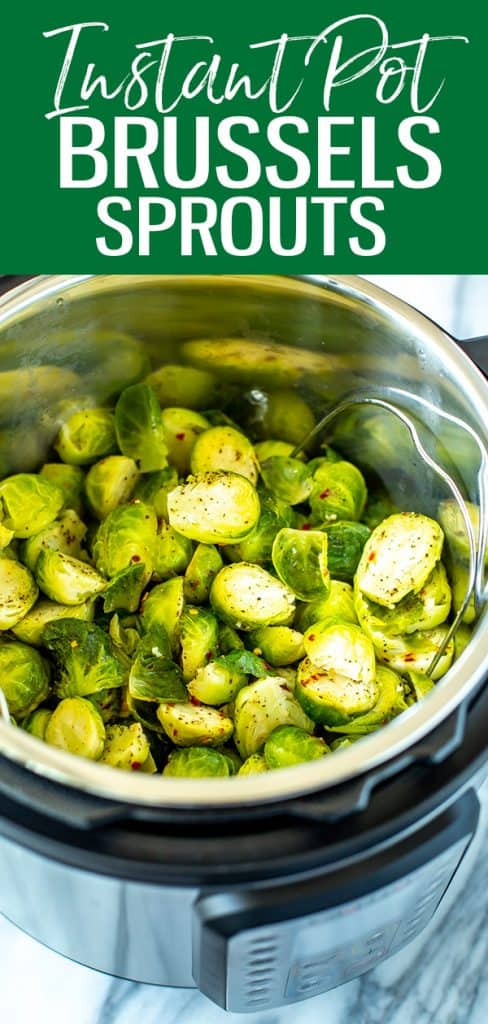 These Instant Pot Brussels Sprouts cook up in just 1 minute and are seasoned with lemon, garlic and parmesan. #instantpot #brusselssprouts
