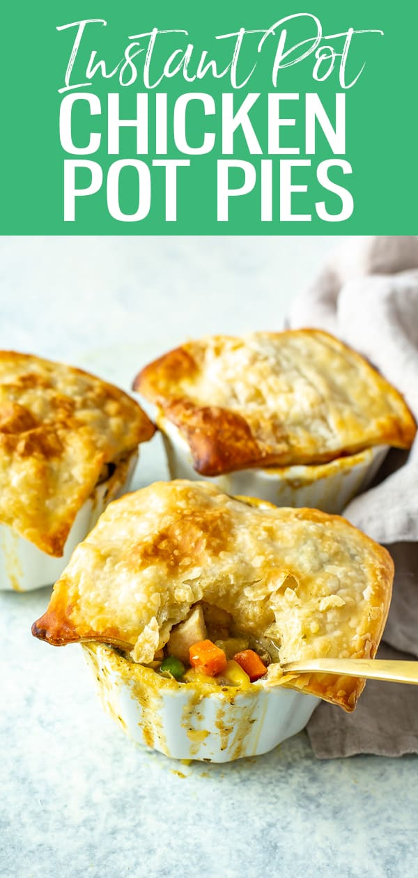 This Instant Pot Chicken Pot Pie is a faster way to make pot pie filling and is finished off in the oven with puff pastry. #instantpot #chickenpotpie