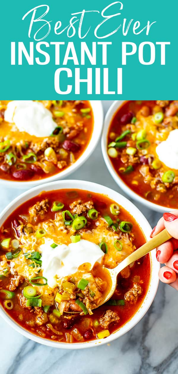 This is the ultimate, best ever Instant Pot Chili. Made with ground beef, green chilies, tomatoes & spices, it's ready in just 30 minutes! #instantpot #chili