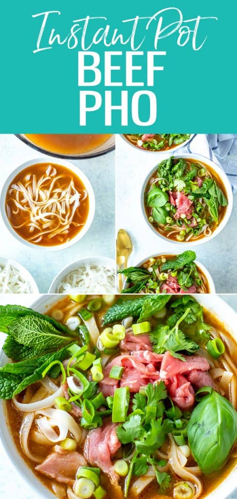 This easy Instant Pot Pho comes together without bones in just 2 minutes and it's full of flavor! Serve with rice noodles & fresh herbs. #instantpot #pho