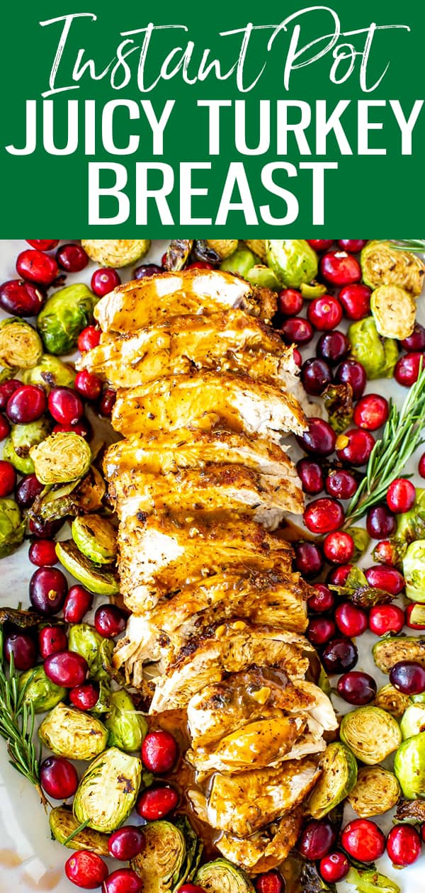 This is the JUICIEST Instant Pot Turkey Breast, and you can make gravy from the drippings right in the same pot within 30 minutes. #instantpot #turkeybreast