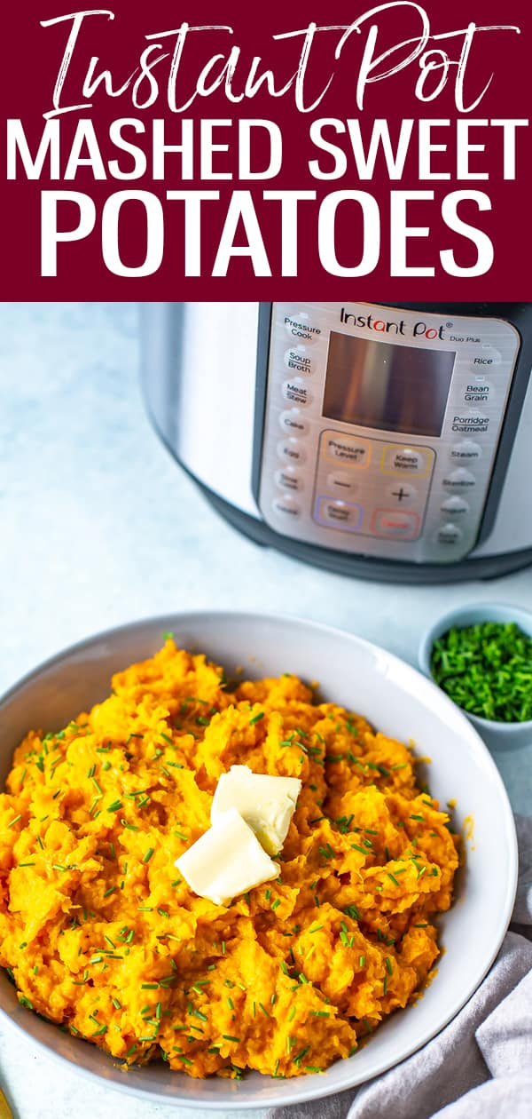 These savory Instant Pot Mashed Sweet Potatoes are so easy and the perfect healthy side dish mixed with herbs, butter and sour cream. #instantpot #sweetpotatoes