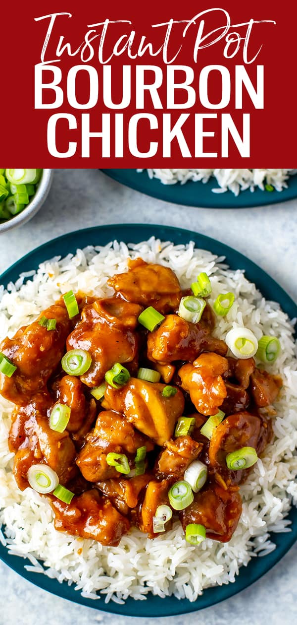 This Instant Pot Bourbon Chicken is a delicious sticky-sweet chicken served on a bed of rice. The dish is named after Bourbon Street in New Orleans! #instantpot #bourbonchicken