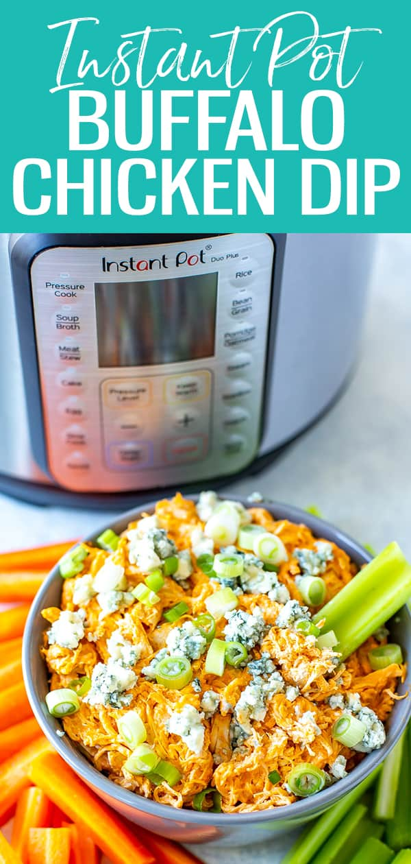This Instant Pot Buffalo Chicken Dip is a creamy dip with a kick! Made with wing sauce and topped with blue cheese, it's a fan favorite! #instantpot #buffalochickendip