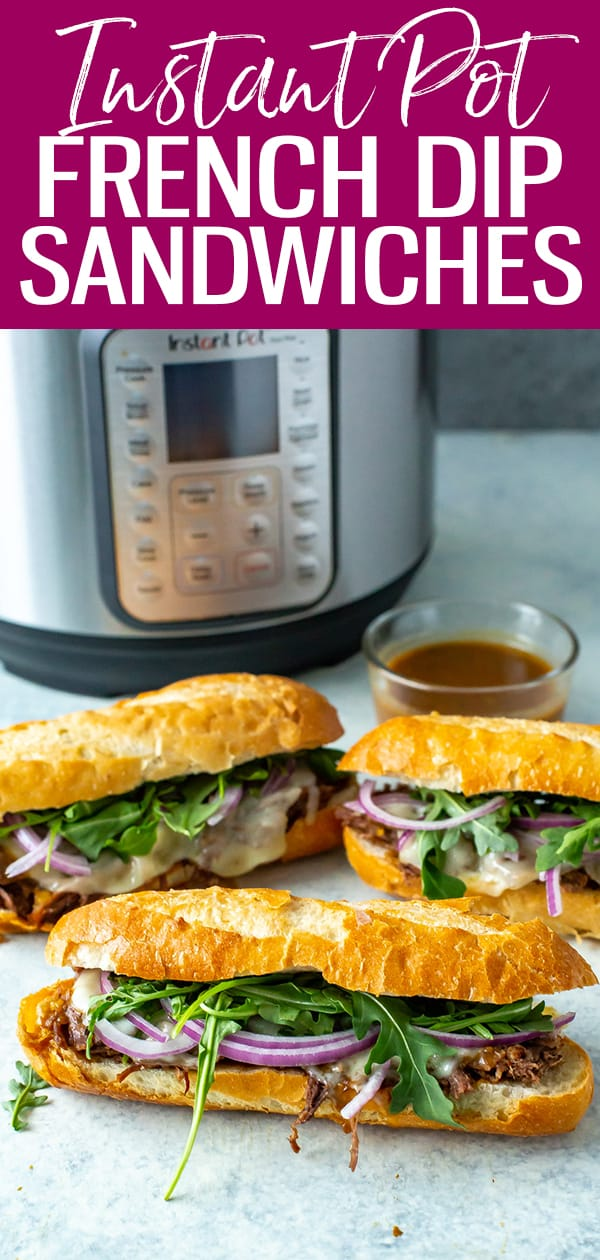 This Instant Pot French Dip is stuffed with tender beef & melted provolone cheese in a fresh mini baguette, then dipped in delectable au jus. #instantpot #frenchdip