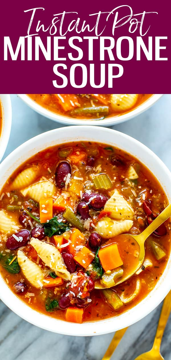 The BESTInstant Pot Minestrone comes together in half an hour - the tomato based broth gets extra flavour from a parmesan rind.#instantpot #minestrone