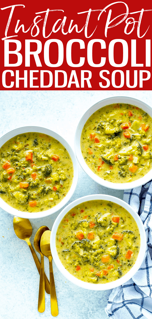 This Instant Pot Broccoli Cheddar Soup is just like Panera Bread's – it's a delicious, creamy soup that also freezes well. #instantpot #broccolicheddarsoup