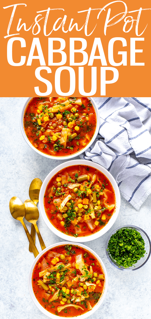 This Instant Pot Cabbage Soupis full of veggies and antioxidants, making it a nutrient-rich meal that is perfect for a healthy diet! #instantpot #cabbagesoup