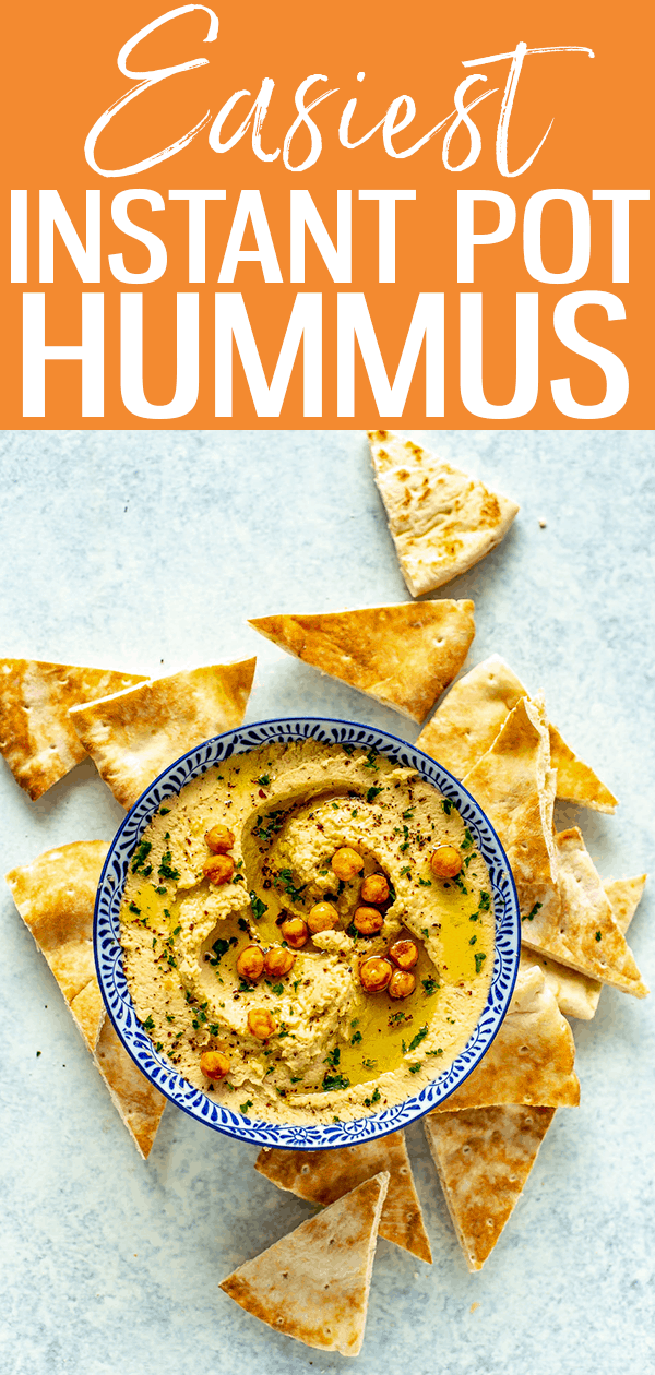 This is the Easiest Instant Pot Hummus ever! All you need are canned chickpeas, tahini, olive oil, lemon juice and garlic - it's ready in minutes! #instantpot #hummus