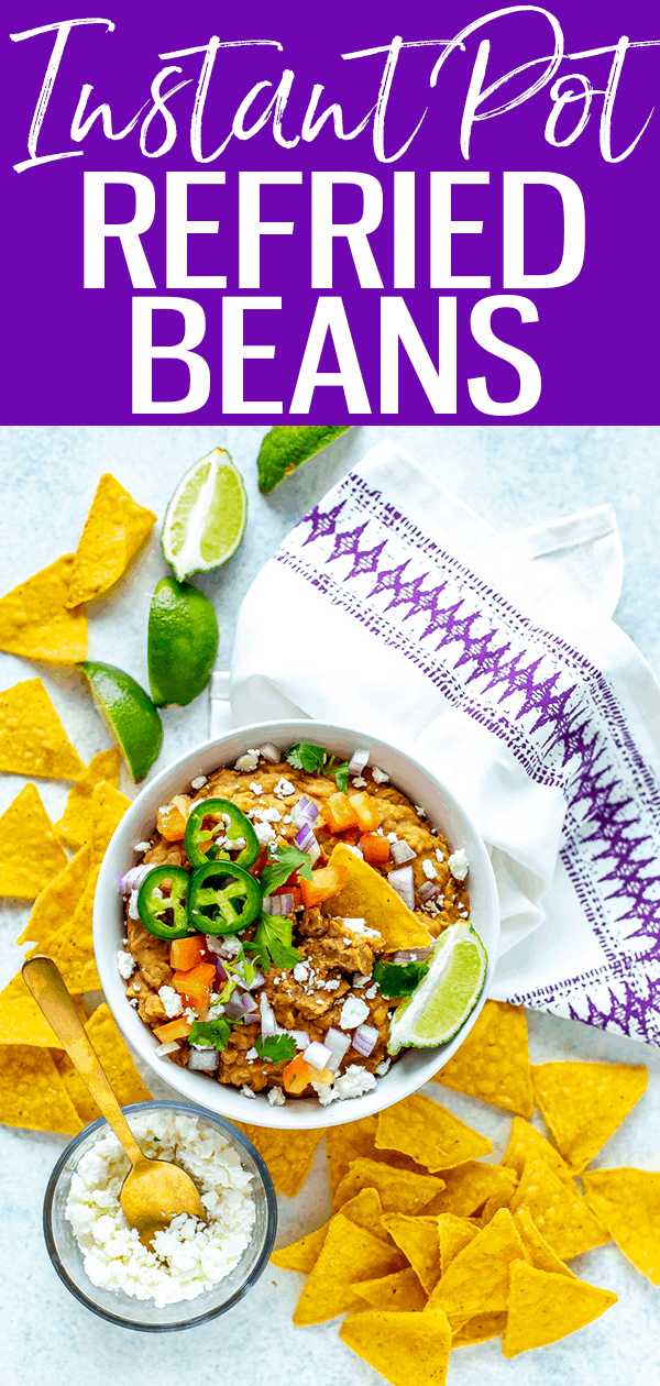 These Instant Pot Refried Beans require no soaking time and just two simple steps - plus they're ready in only 5 minutes! #instantpot #refriedbeans