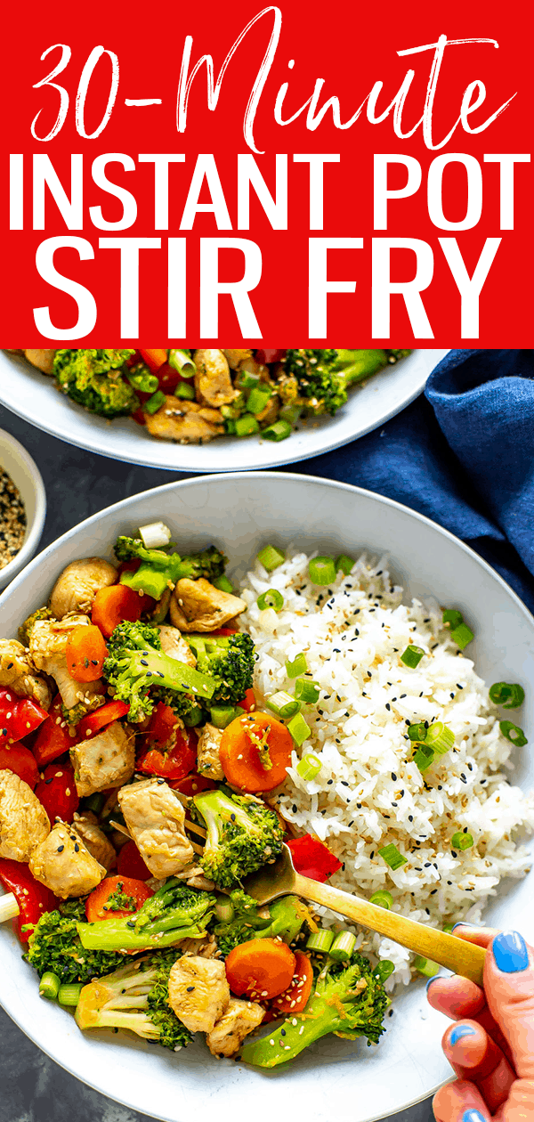 This Instant Pot Stir Fry is a delicious, healthy option if you don't have access to a stovetop - all you need is chicken, veggies and a simple sauce! #instantpot #stirfry
