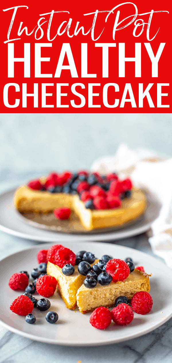Instant Pot Cheesecake is SO easy to make in the pressure cooker with a springform pan. This recipe is made healthier with Greek yogurt! #instantpot #cheesecake