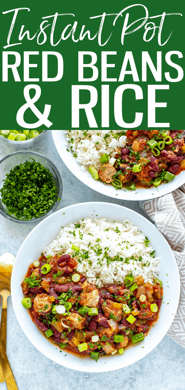 Instant Pot Red Beans and Rice is a delicious weeknight dinner made healthier thanks to turkey sausage - you'll love the smoky sauce! #instantpot #redbeans #rice