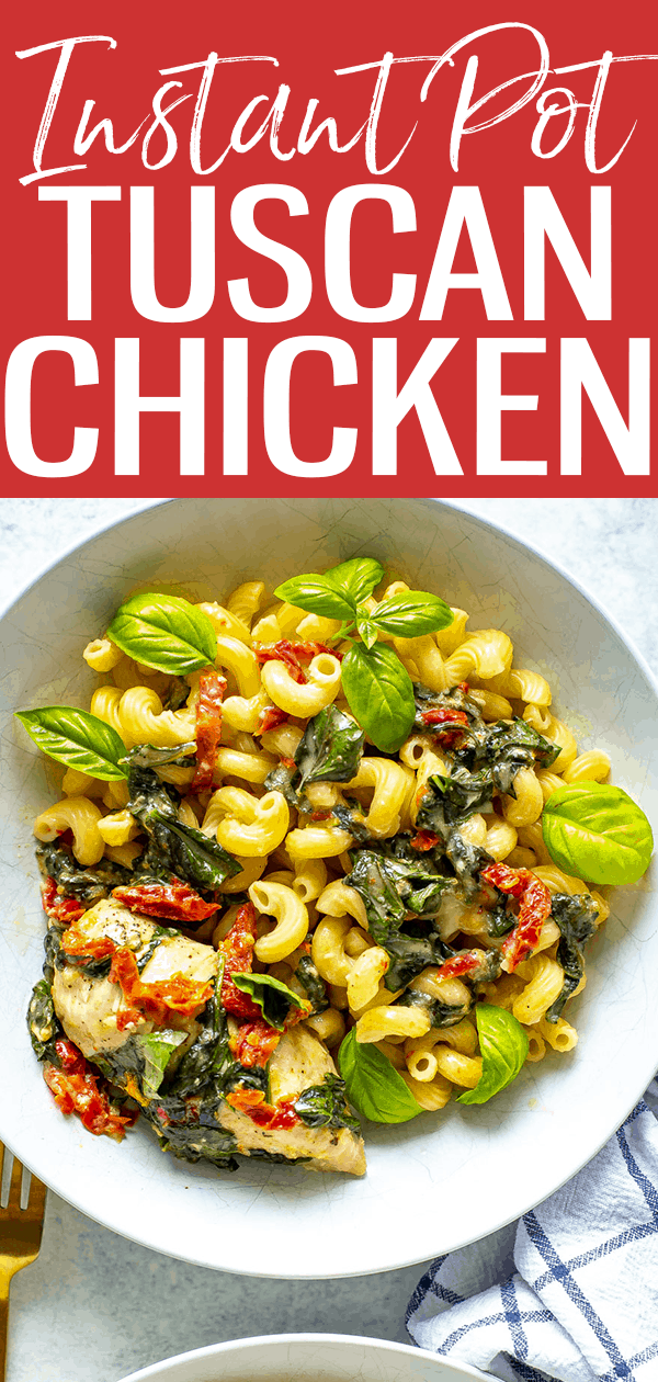 This Instant Pot Tuscan Chicken is so tender and juicy, filled with spinach, sundried tomatoes and basil in a light cream sauce. #instantpot #tuscanchicken
