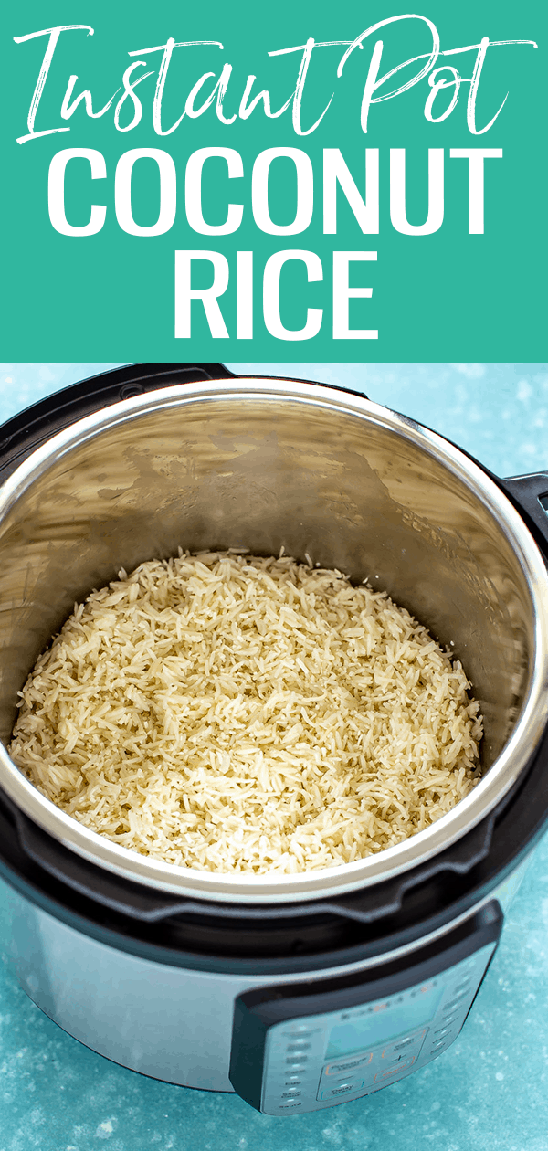 This Instant Pot Coconut Rice is SO flavourful, made with coconut milk - I've topped mine with peanut chicken & mango salsa for a full meal! #instantpot #coconutrice