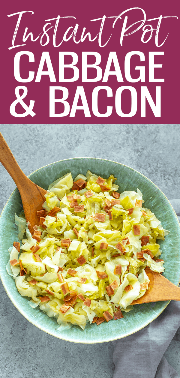 Instant Pot Cabbage with Bacon is the ultimate side dish and it only needs 0 minutes on high pressure - yes, you read that right, zero! #instantpot #cabbageandbacon