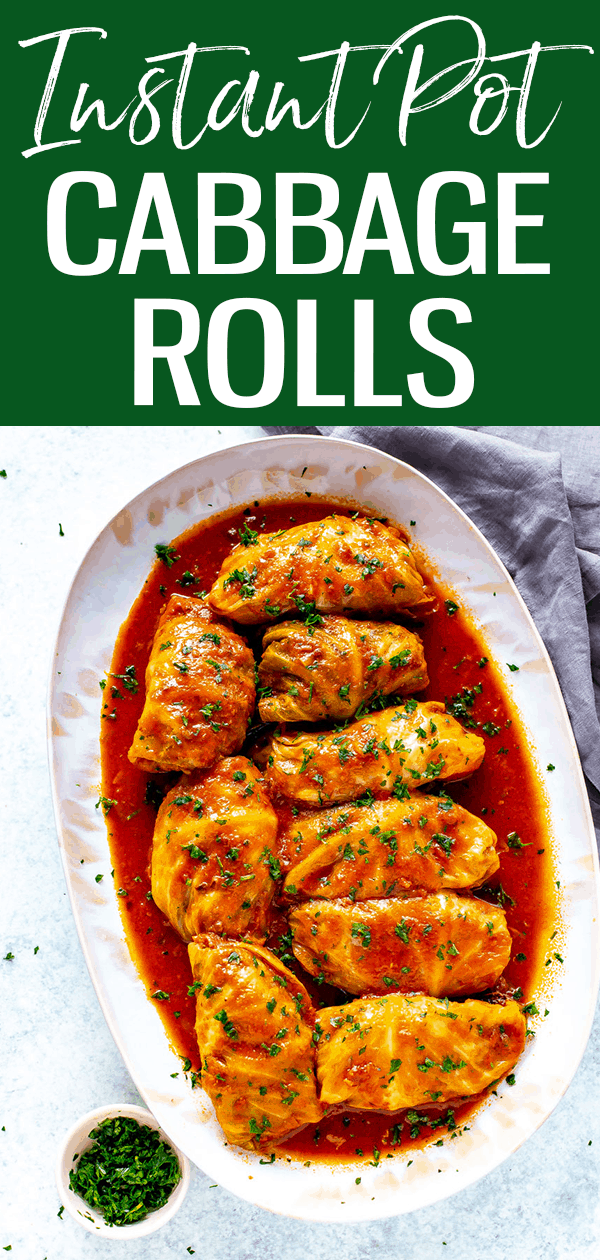 These Instant Pot Cabbage Rolls are the real deal! Cook the whole head of cabbage first, then peel the leaves, stuff and cook a second time.#instantpot #cabbagerolls